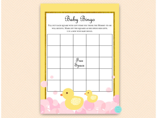 tlc574-bingo-baby-blank-squares-pink-girl-rubber-duck-baby-shower-game