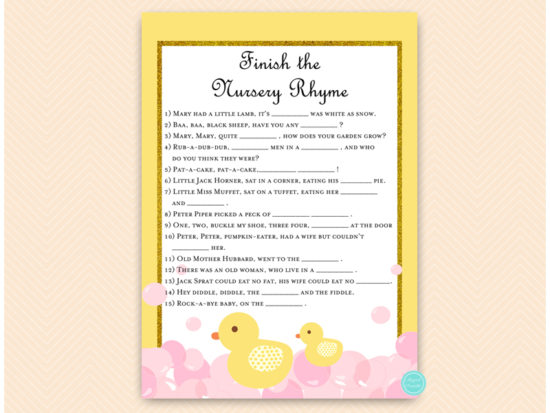 tlc574-nursery-rhyme-quiz-pink-girl-rubber-duck-baby-shower-game