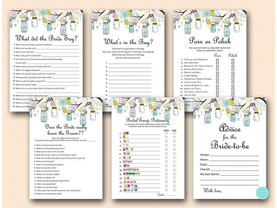 photo relating to Bridal Shower Printable Games identify Mason Jars Bridal Shower Pursuits Pack