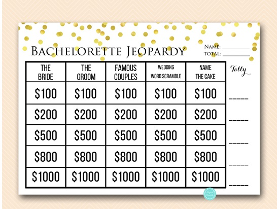 graphic about Baby Jeopardy Questions and Answers Printable named Gold Jeopardy Bachelorette Get together Video game