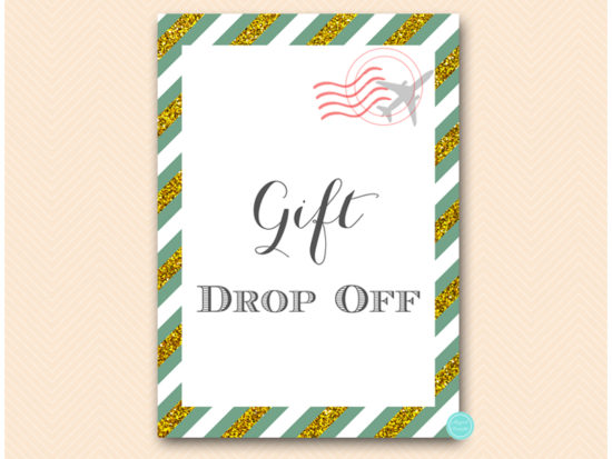 bs484g-sign-gift-dropoff-green-gold-travel-themed-sign