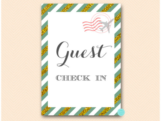 bs484g-sign-guest-checkin-green-gold-travel-themed-sign