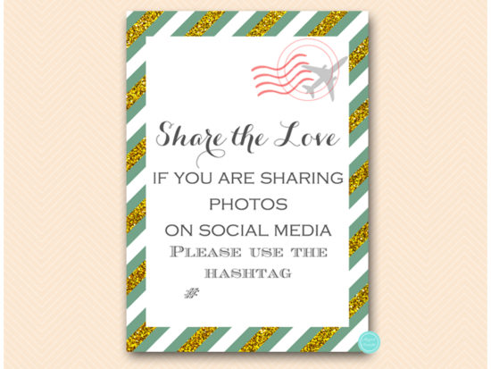 bs484g-sign-hashtag-share-the-love-green-gold-travel-themed-sign