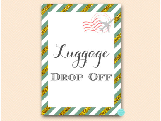 bs484g-sign-luggage-dropoff-green-gold-travel-themed-sign