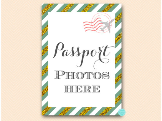 bs484g-sign-passport-photos-here-green-gold-travel-themed-sign
