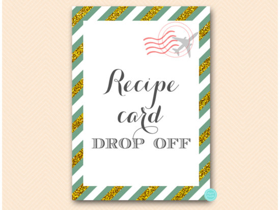 bs484g-sign-recipe-card-dropoff-green-gold-travel-themed-sign