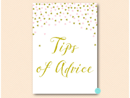 sn484-sign-tips-of-advice-pink-and-gold-table-signs