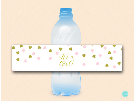 sn488-water-bottle-label-its-a-girl-baby-shower-pink-gold-decoration