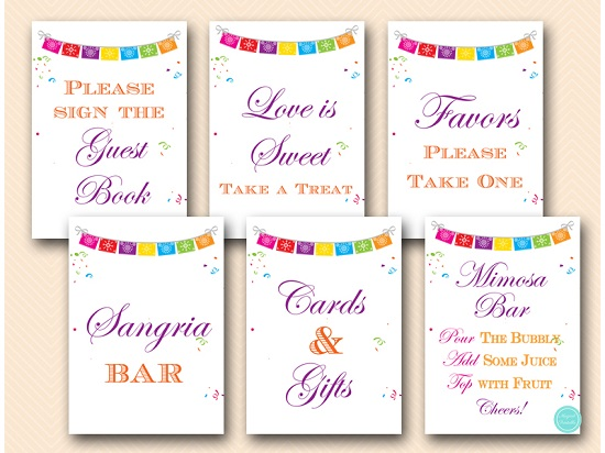 photograph relating to Please Take One Sign Printable named Fiesta Get together Desk Signs or symptoms