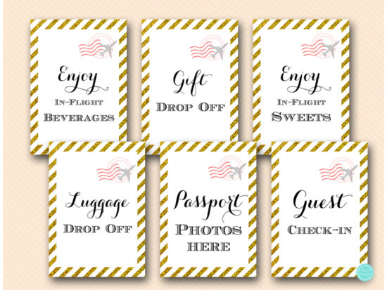 gold-stripes-travel-themed-bridal-shower-baby-signs