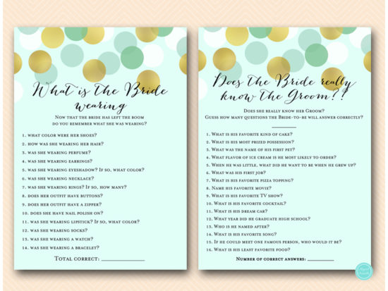 mint gold bridal shower game what bride wearing