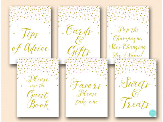 Pink And Gold Shower Table Signs Printabell Express
