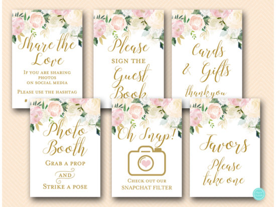 pink-blush-floral-bridal-shower-wedding-decoration-table-signs