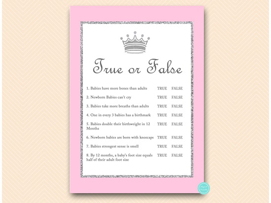 Pink And Silver Princess Baby Shower Trivia Game Printabell Express