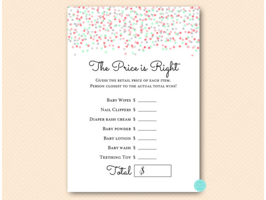 tlc583-price-is-right-mint-coral-baby-shower-games