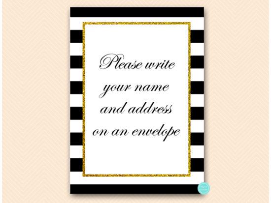 bs442-sign-write-name-gold-black-stripes-bridal-bachelorette-game
