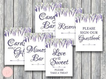 lavender-bridal-shower-table-signs