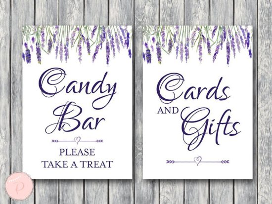 lavender-bridal-shower-table-signs-candy-bar-cards-and-gifts
