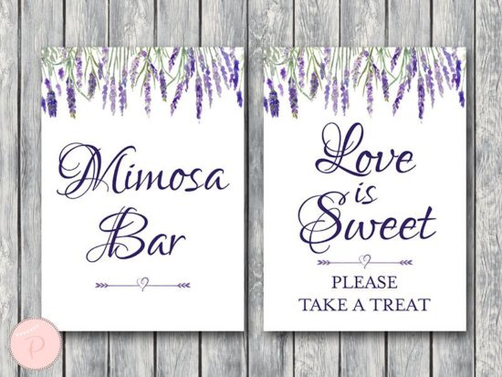 lavender-bridal-shower-table-signs-love-is-sweet-mimosa