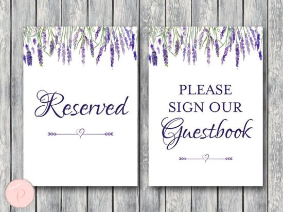 lavender-bridal-shower-table-signs-reserved-guestbook