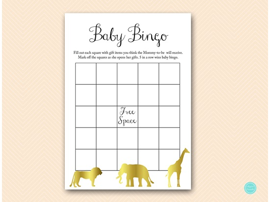 photograph regarding Printable Baby Shower Bingo called Gold Jungle Kid Shower Bingo Video game