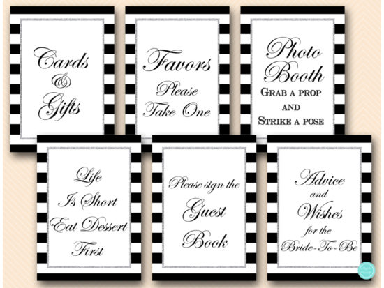 black-and-silver-bridal-shower-table-signs-silver-glitter-bridal-shower-signs-mimosa-favors-cards