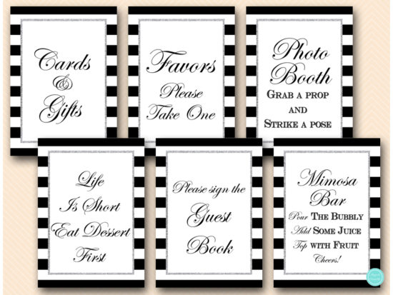 black-and-silver-table-signs-silver-glitter-bridal-shower-signs-mimosa-favors-cards