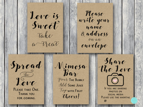 rustic-woodland-bridal-shower-table-signs-spread-the-love-snapchat-filter-hashtag