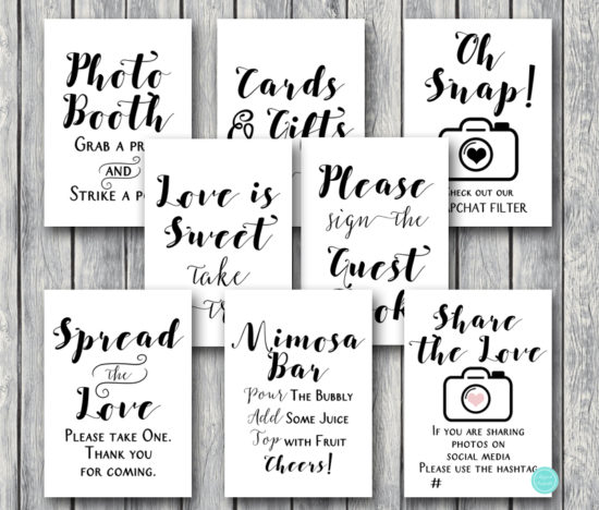 rustic-woodland-wedding-table-signs-rustic-bridal-shower-signs-white-background-kraft-paper