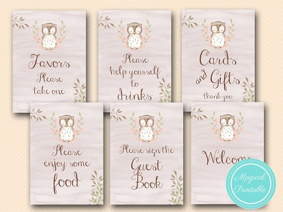 image regarding Baby Shower Signs Printable identified as Red Owl Boy or girl Shower Indicators