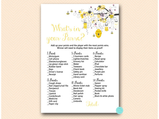 tlc185p-whats-in-your-purse-pink-girl-bee-baby-shower-game
