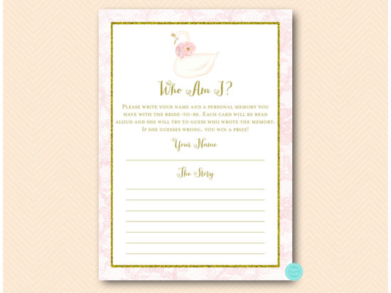 bs627-who-am-i-favorite-memoryg-pink-gold-swan-bridal-shower-game