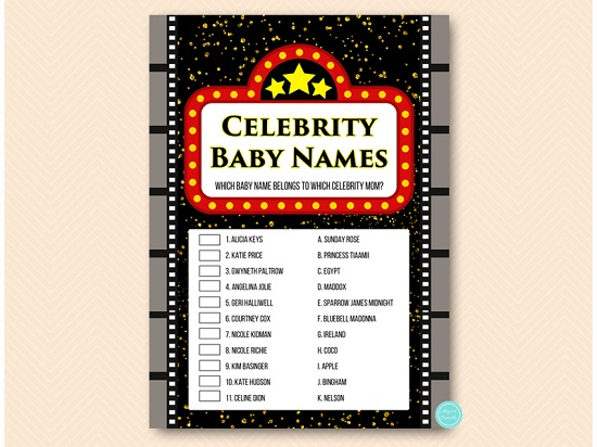 photo about Celebrity Baby Name Game Printable called Hollywood movie star little one popularity video game