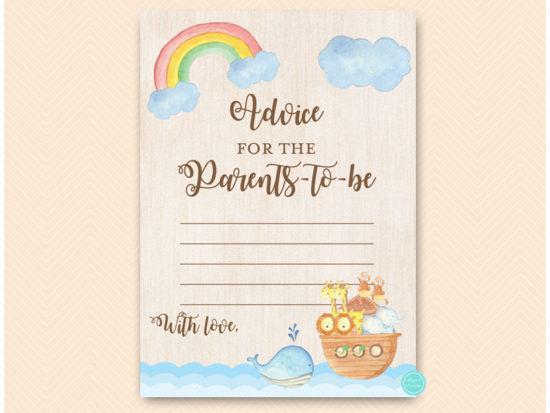tlc631tw-advice-parents-card-twins-noahs-ark-baby-shower-game
