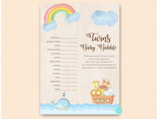 tlc631tw-twins-baby-babble-twins-noahs-ark-baby-shower-game