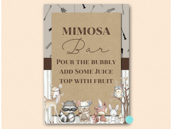 sn645-sign-mimosa-bar-rustic-woodland-baby-shower-signs
