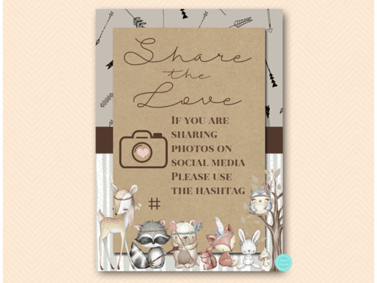 sn645-sign-share-the-love-hashtag-rustic-woodland-baby-shower-signs