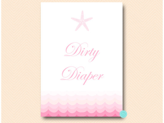 tlc09p-dirty-diaper-sign-pink-beach-under-sea-baby-shower-games