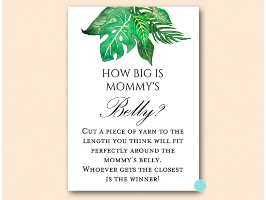 tlc641-how-big-is-belly-tropical-jungle-baby-shower-game