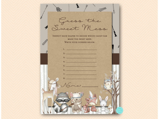 tlc645-sweet-mess-card-tribal-woodland-baby-shower-games