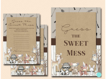 tlc645-sweet-mess-sign-tribal-woodland-baby-shower-games