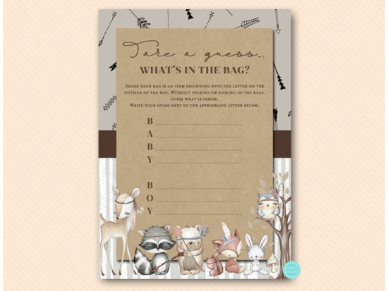 tlc645-whats-in-the-bag-boy-tribal-woodland-baby-shower-games
