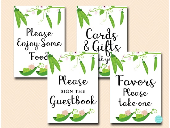 Twin Peas In A Pod Baby Shower Table Signs Printabell Express