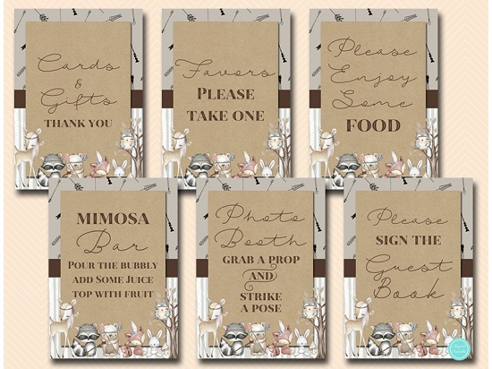 Boho Woodland Table Sign Decorations Printabell Express