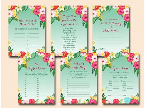 luau-bridal-shower-games-hawaiian-tropical-flamingo-themed