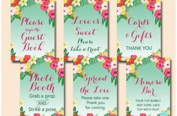 tropical-luau-bridal-wedding-table-signs