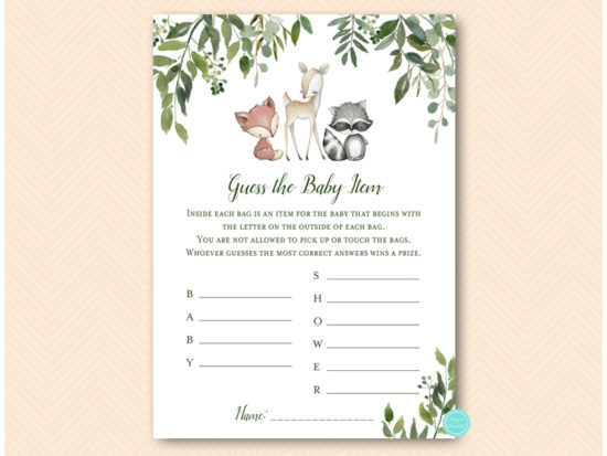 tlc653-guess-baby-itema-whats-in-bag-leafy-woodland-animals-baby-shower-game
