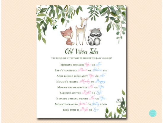 tlc653-old-wives-tales-sign-greenery-woodland-animals-baby-shower-game