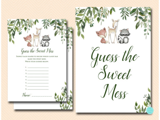 tlc653-sweet-mess-sign-greenery-woodland-animals-baby-shower-game
