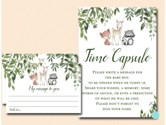 tlc653-time-capsule-sign-5x7-boy-greenery-woodland-animals-baby-shower-game